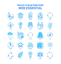 Web essential blue tone icon pack - 25 icon sets vector