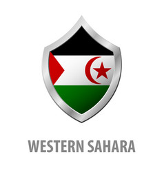 Western sahara flag on metal shiny shield vector