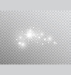 white glowing light effect isolated on transparent vector image