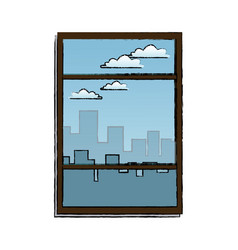 Window with view building urban skyline vector