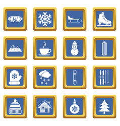 winter icons set blue vector image