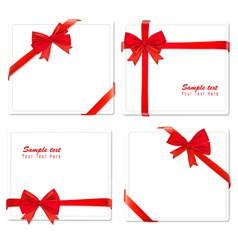 big set of red gift bows with vector image