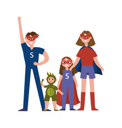 family of superheroes cartoon characters parents vector image vector image