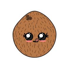 kawaii cute funny coconut fruit vector image vector image