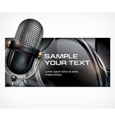 Microphone on black vector image vector image