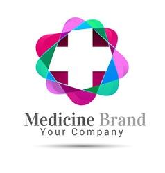 Plus sign medical healthcare logo template design vector image vector image