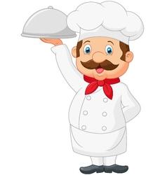 Cartoon Chef Serving Food In A Sliver Platter vector image