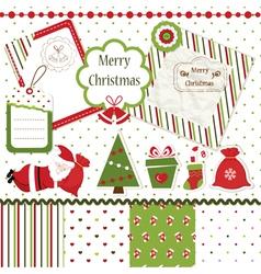 Christmas scrapbook set vector