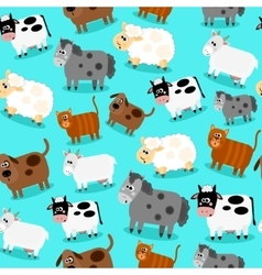Funny farm animals and pets seamless collection vector image
