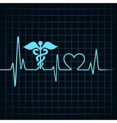 Heartbeat make medical and heart symbol vector image vector image