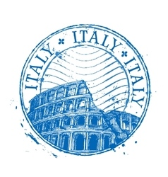 Italy logo design template Shabby stamp or vector image