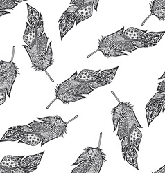 Ornamental hand drawn sketched feathers seamless vector image