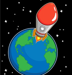 Rocket fly from earth vector
