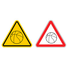 warning sign basketball attention dangers yellow vector image vector image