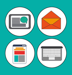 digital marketing concept collection icons vector image