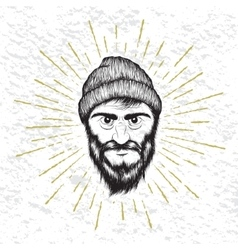 Face of bearded man dressed in hat vector image vector image