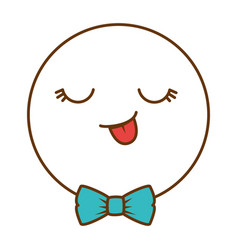 happy face emoji with bowntie vector image