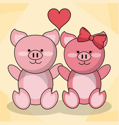 Loving couple pigs animal baby heart decoration vector