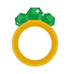 Precious ring with stone colored gems isolated on vector image