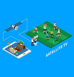 Telecommunication isometric composition vector