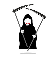 Death with two scythe Ferocious Grim Reaper with vector image vector image