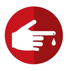 hand blood drop symbol shadow vector image vector image