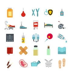 medicine icon set flat style vector image