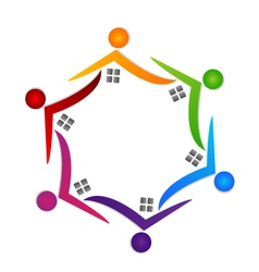Real estate teamwork people logo vector image