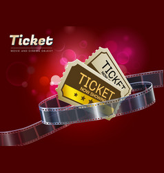 ticket movie cinema object vector image vector image