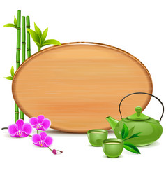 Wooden Board with Green Teapot vector image vector image
