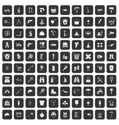 100 tackle icons set black vector