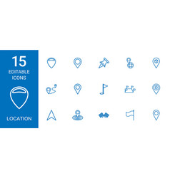 15 location icons vector image