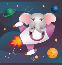 A cute elephant in space galaxy vector