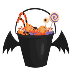 a halloween bucket with bat wings filled with vector image