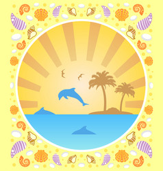 Background summer card with dolphins vector