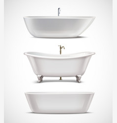 Bathtubs Realistic Set vector image