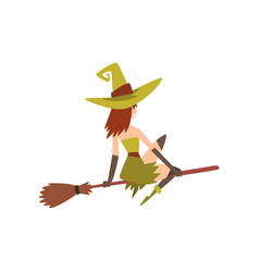 beautiful witch flying on broom charming witch vector image