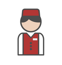 bellboy icon with red uniform on white background vector image