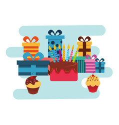 birthday gifts and sweet cake and cupcakes vector image