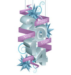 Blue happy new year 2014 ornaments vector