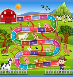 Board game with farm background vector
