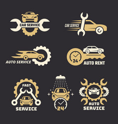 car logo stylized emblem with car silhouettes vector image