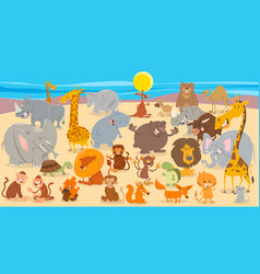 cartoon animal characters collection background vector image