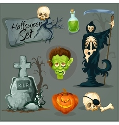 cartoon scary elements for halloween vector image