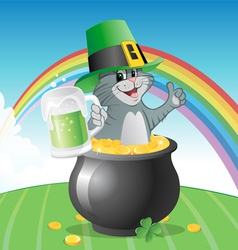 Cat st patricks day vector