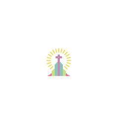 church cross religious logo icon vector image