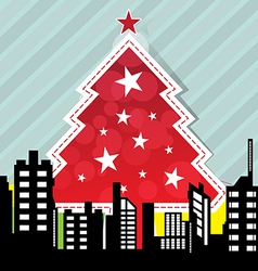 city with christmas tree vector image