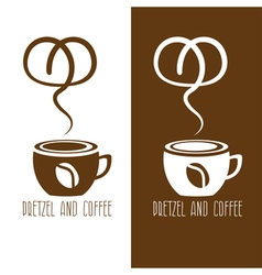 coffee cup and pretzel design template vector image