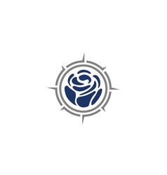 Compass rose flower adventure travel logo vector