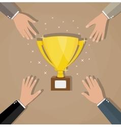 competition between businessman for golden trophy vector image